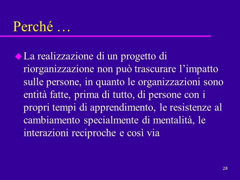 28 u La realizzazione di un progetto di riorganizzazione non può trascurare limpatto sulle persone, in quanto le organizzazioni sono entità fatte, pri
