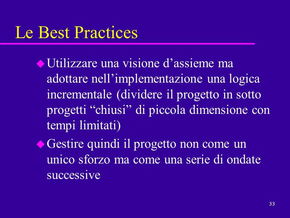 33 Le Best Practices u Utilizzare una visione dassieme ma adottare nellimplementazione una logica incrementale (dividere il progetto in sotto progetti