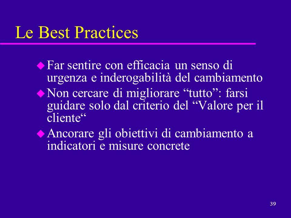 39 Le Best Practices u Far sentire con efficacia un senso di urgenza e inderogabilità del cambiamento u Non cercare di migliorare tutto: farsi guidare
