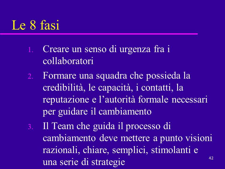 42 Le 8 fasi 1. Creare un senso di urgenza fra i collaboratori 2. Formare una squadra che possieda la credibilità, le capacità, i contatti, la reputaz