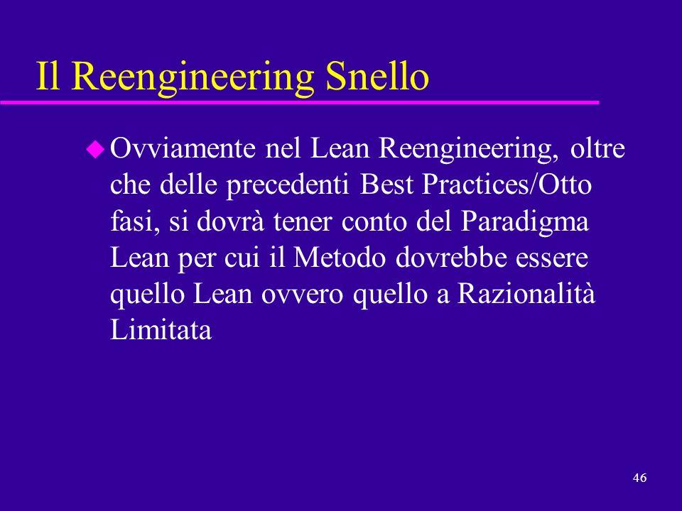 46 Il Reengineering Snello u Ovviamente nel Lean Reengineering, oltre che delle precedenti Best Practices/Otto fasi, si dovrà tener conto del Paradigm
