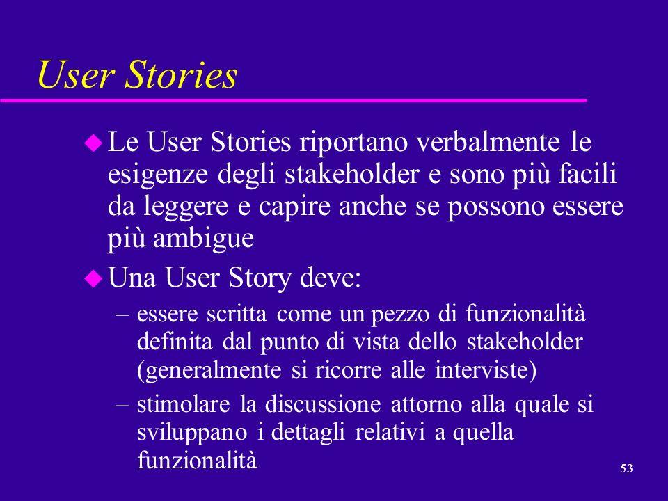 53 User Stories u Le User Stories riportano verbalmente le esigenze degli stakeholder e sono più facili da leggere e capire anche se possono essere pi