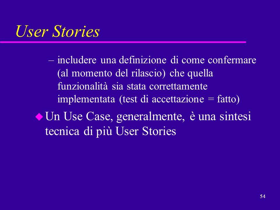 54 User Stories –includere una definizione di come confermare (al momento del rilascio) che quella funzionalità sia stata correttamente implementata (