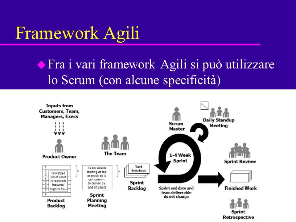 56 Framework Agili u Fra i vari framework Agili si può utilizzare lo Scrum (con alcune specificità)