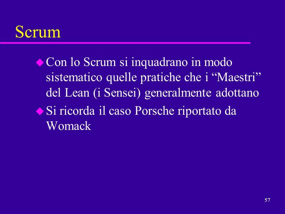 57 Scrum u Con lo Scrum si inquadrano in modo sistematico quelle pratiche che i Maestri del Lean (i Sensei) generalmente adottano u Si ricorda il caso