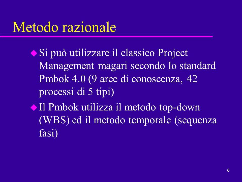 6 Metodo razionale u Si può utilizzare il classico Project Management magari secondo lo standard Pmbok 4.0 (9 aree di conoscenza, 42 processi di 5 tip