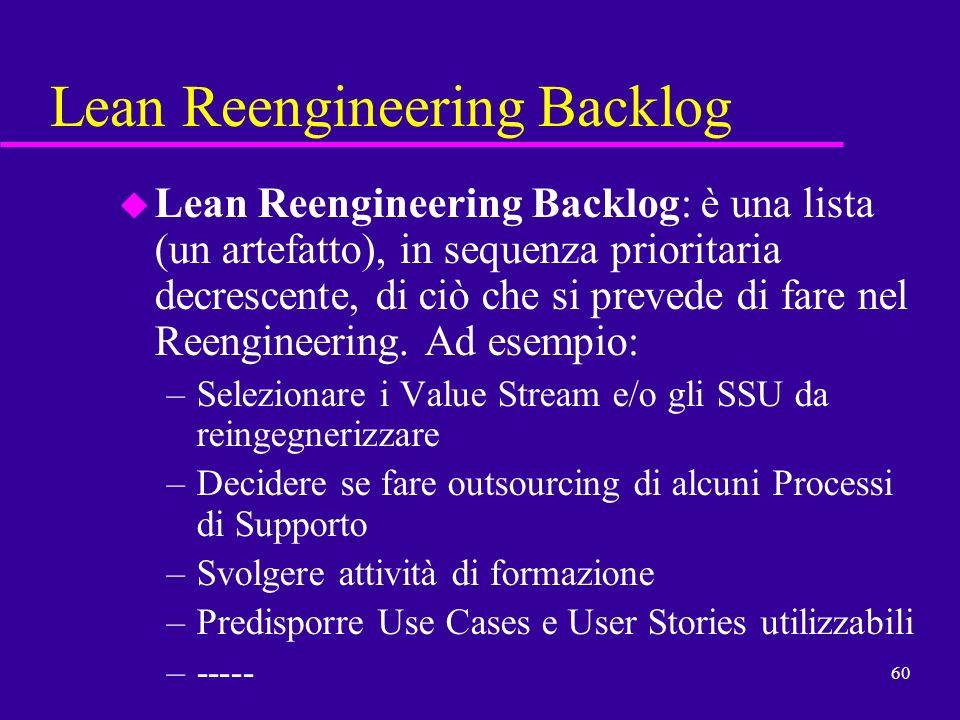 60 Lean Reengineering Backlog u Lean Reengineering Backlog: è una lista (un artefatto), in sequenza prioritaria decrescente, di ciò che si prevede di