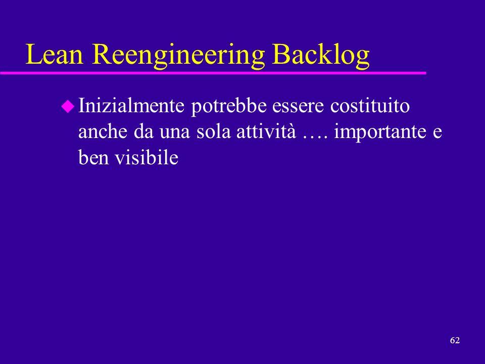 62 Lean Reengineering Backlog u Inizialmente potrebbe essere costituito anche da una sola attività …. importante e ben visibile