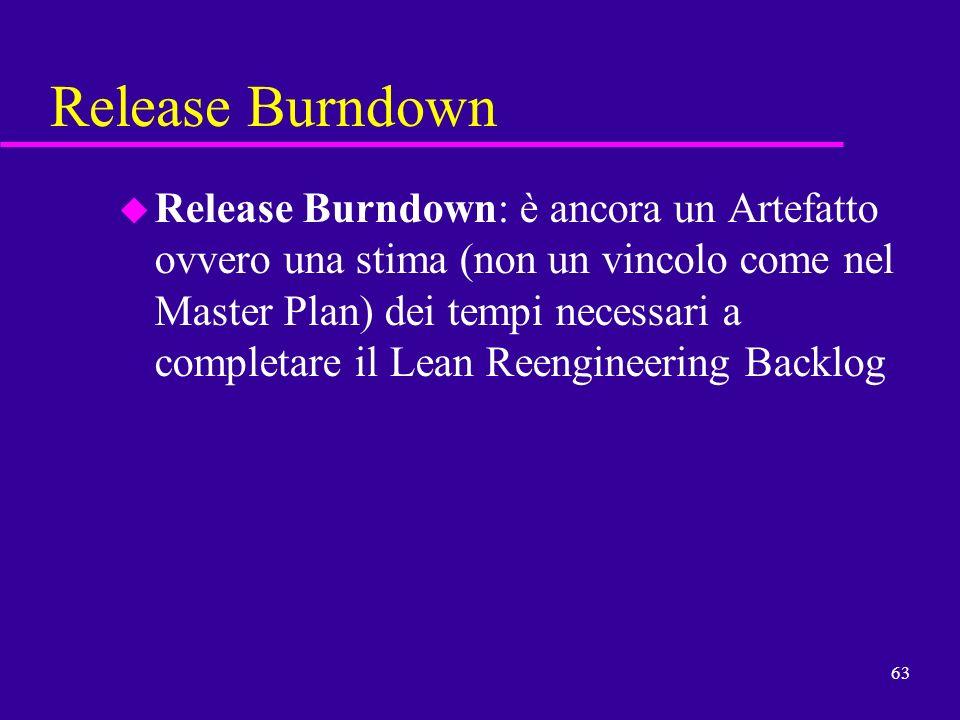 63 Release Burndown u Release Burndown: è ancora un Artefatto ovvero una stima (non un vincolo come nel Master Plan) dei tempi necessari a completare