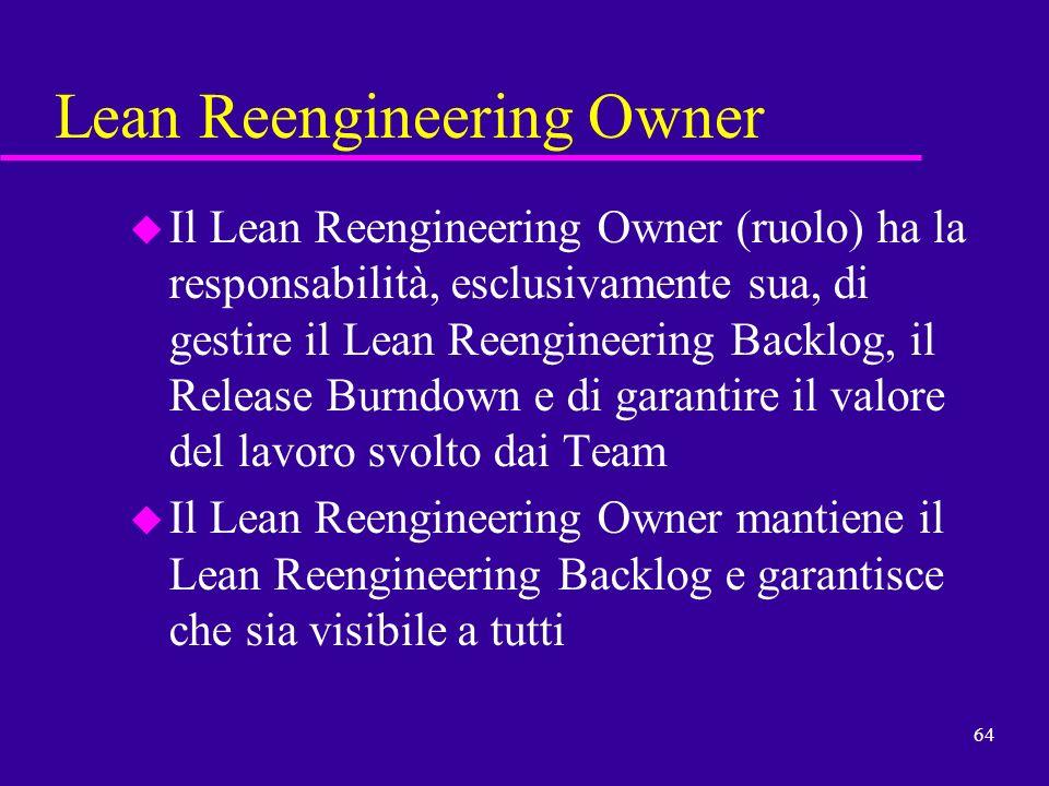 64 Lean Reengineering Owner u Il Lean Reengineering Owner (ruolo) ha la responsabilità, esclusivamente sua, di gestire il Lean Reengineering Backlog,