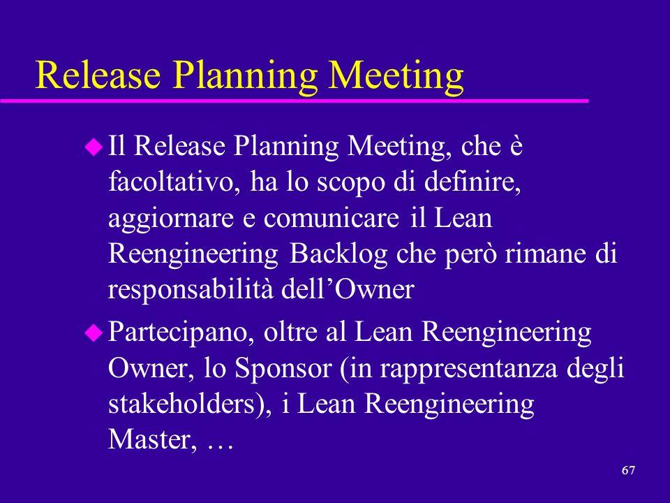 67 Release Planning Meeting u Il Release Planning Meeting, che è facoltativo, ha lo scopo di definire, aggiornare e comunicare il Lean Reengineering B