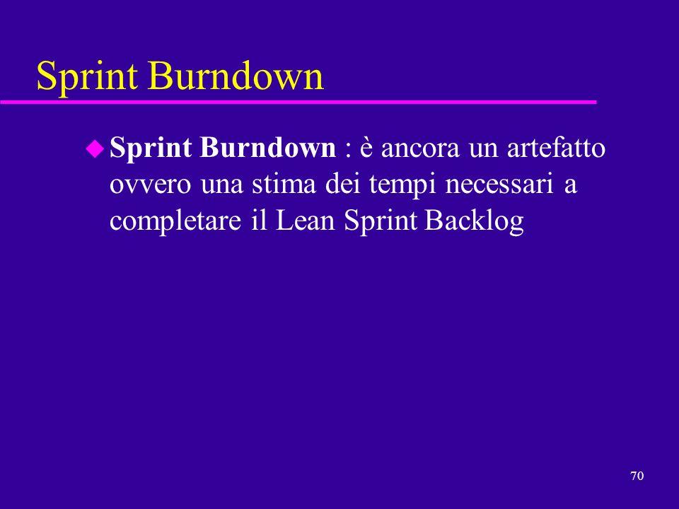 70 Sprint Burndown u Sprint Burndown : è ancora un artefatto ovvero una stima dei tempi necessari a completare il Lean Sprint Backlog