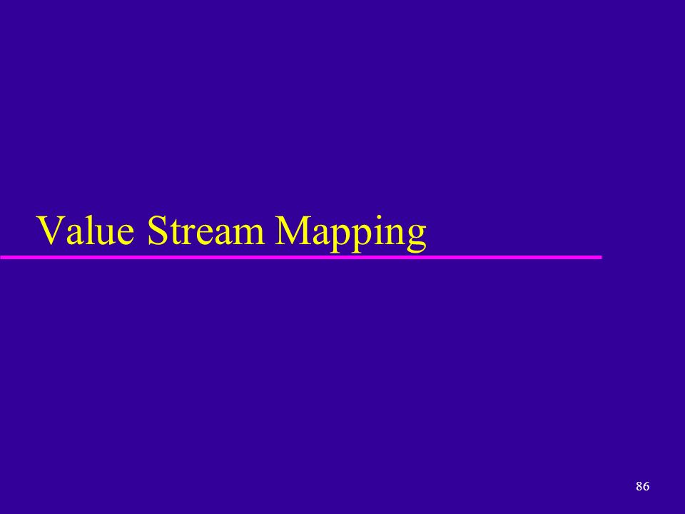 86 Value Stream Mapping