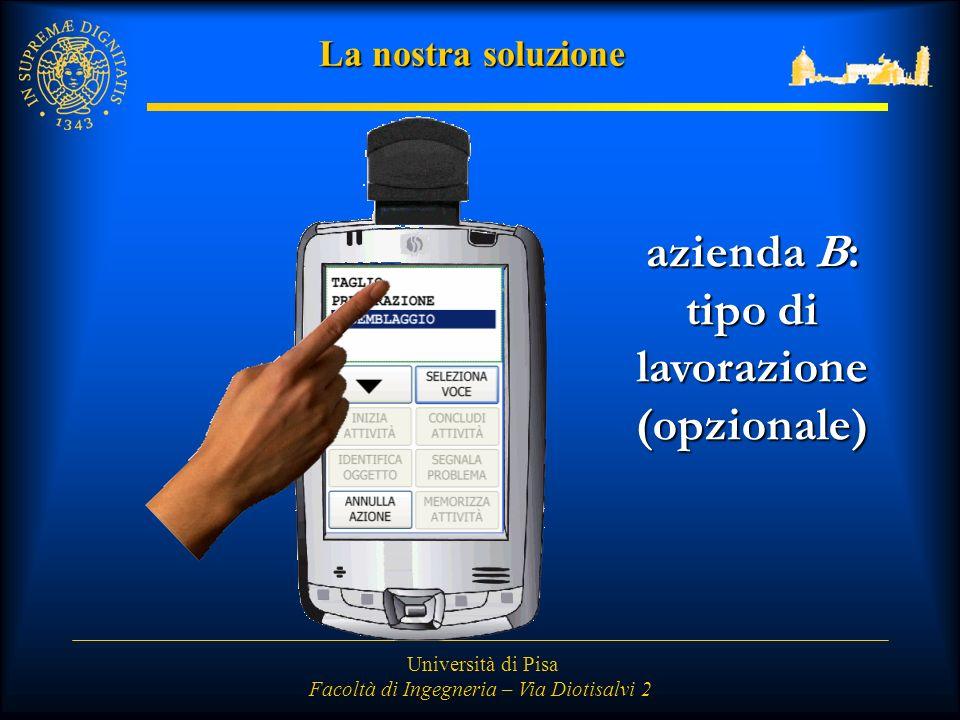Università di Pisa Facoltà di Ingegneria – Via Diotisalvi 2 La nostra soluzione azienda B: tipo di lavorazione (opzionale)