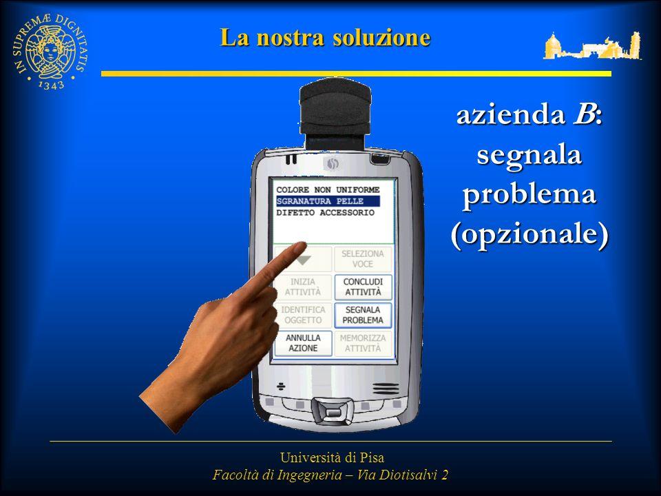 Università di Pisa Facoltà di Ingegneria – Via Diotisalvi 2 La nostra soluzione azienda B: segnalaproblema(opzionale)