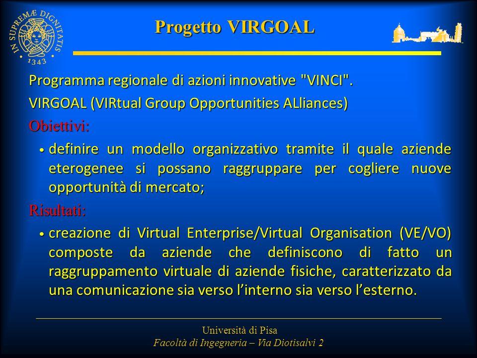 Università di Pisa Facoltà di Ingegneria – Via Diotisalvi 2 Progetto VIRGOAL Programma regionale di azioni innovative VINCI .