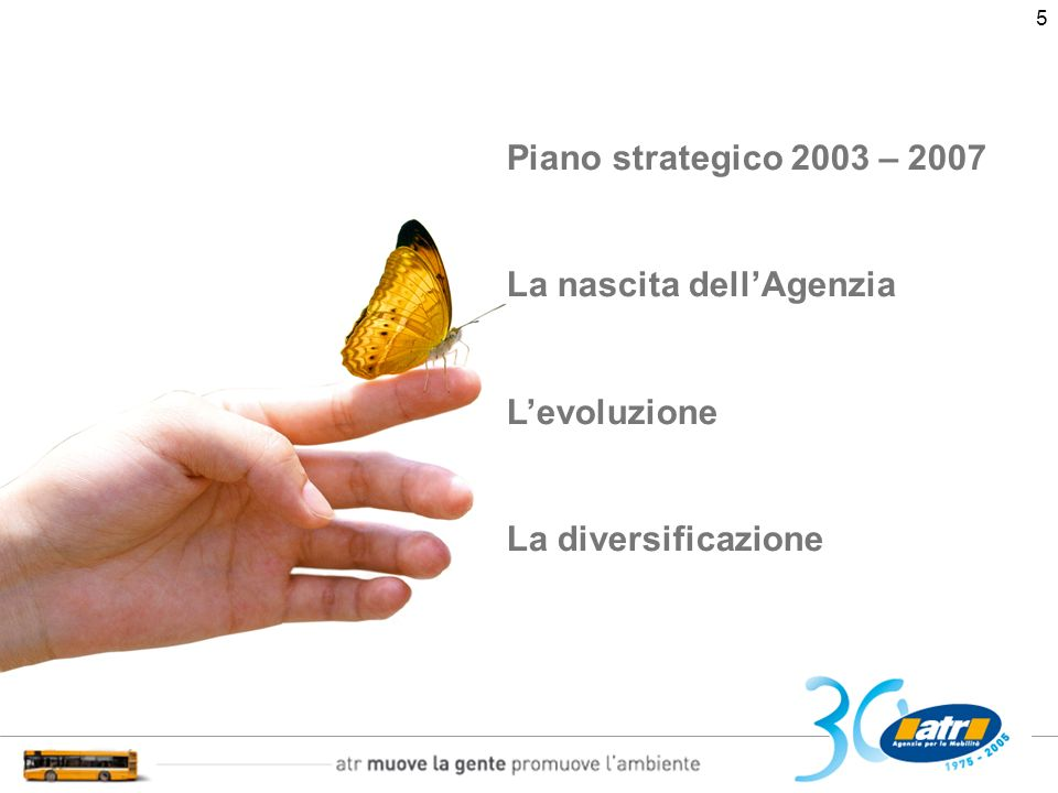 6 La mission di Atr ATR è unorganizzazione orientata allo sviluppo della sostenibilità economica e ambientale della mobilità e del territorio a garanzia della qualità dei servizi erogati al cittadino-cliente Piano Strategico 2003 - 2007