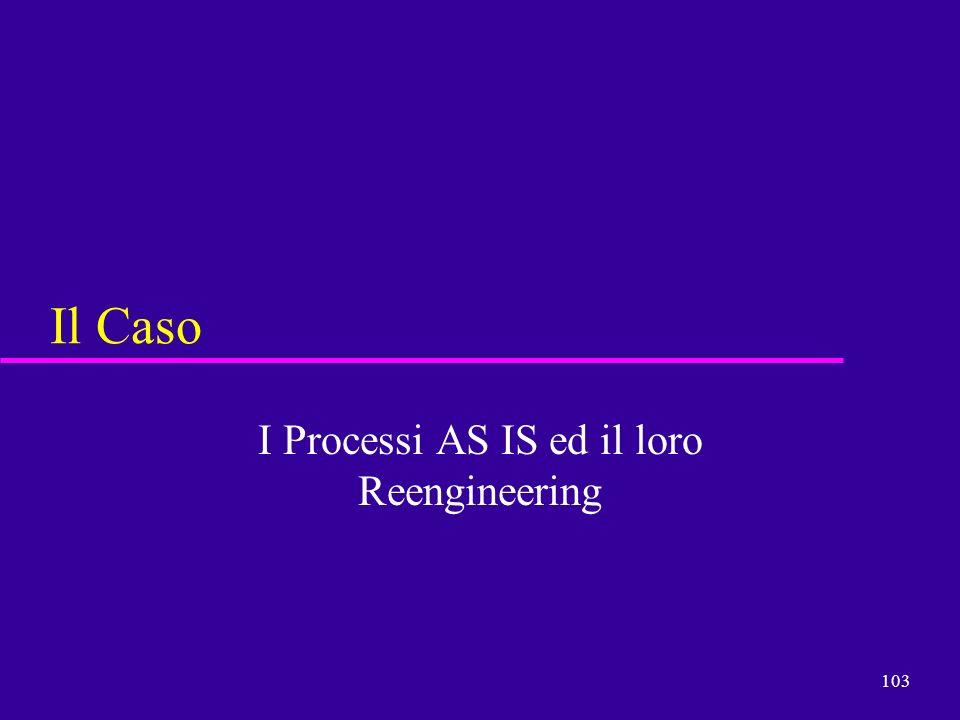 103 Il Caso I Processi AS IS ed il loro Reengineering