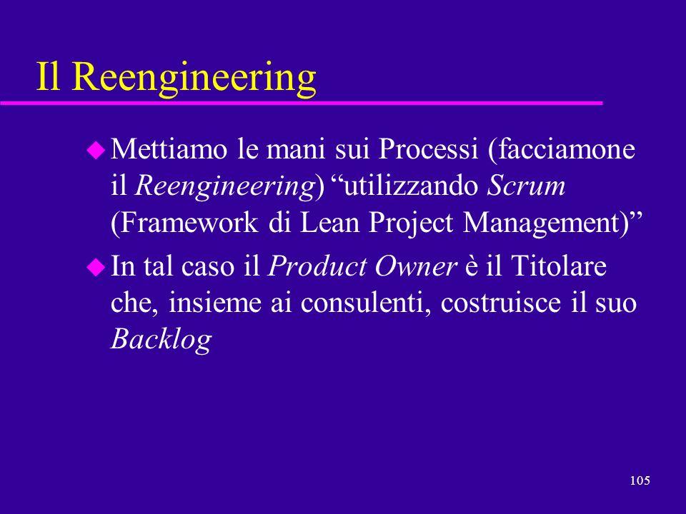 105 Il Reengineering u Mettiamo le mani sui Processi (facciamone il Reengineering) utilizzando Scrum (Framework di Lean Project Management) u In tal c