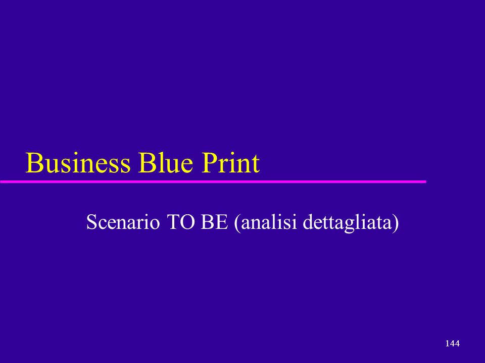 144 Business Blue Print Scenario TO BE (analisi dettagliata)