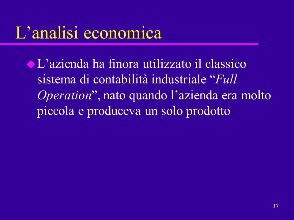 17 Lanalisi economica u Lazienda ha finora utilizzato il classico sistema di contabilità industriale Full Operation, nato quando lazienda era molto pi