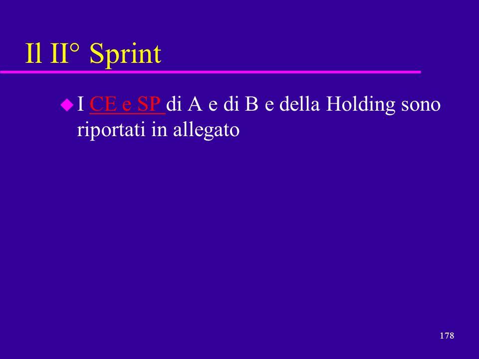 178 Il II° Sprint u I CE e SP di A e di B e della Holding sono riportati in allegatoCE e SP