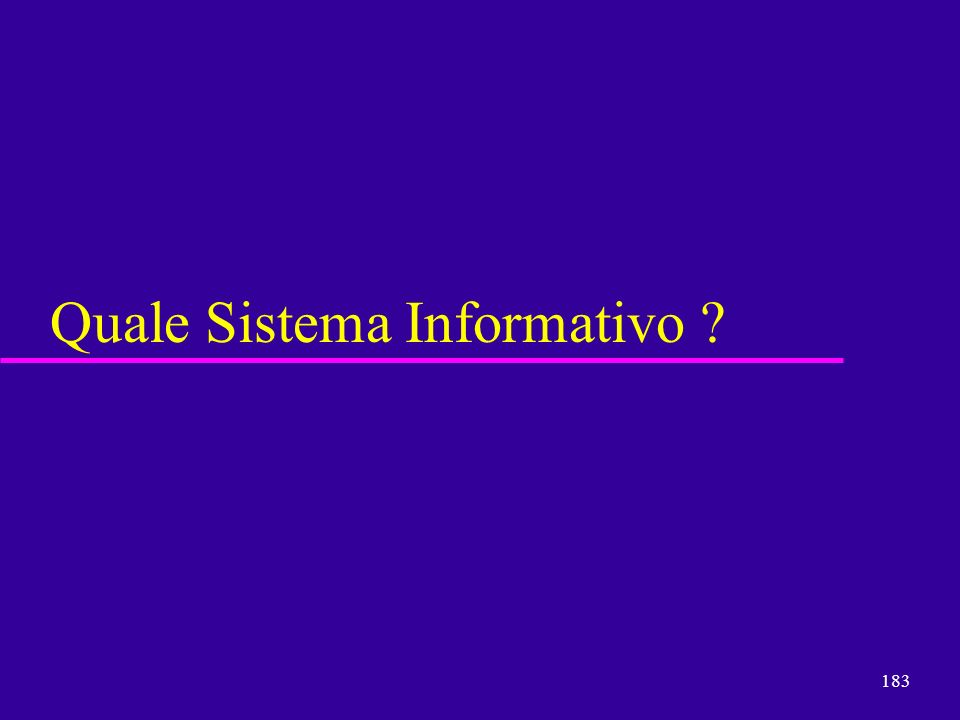 183 Quale Sistema Informativo ?