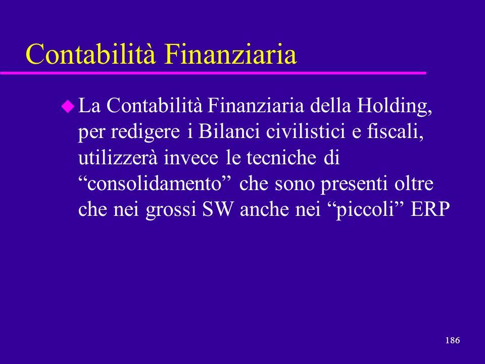 186 Contabilità Finanziaria u La Contabilità Finanziaria della Holding, per redigere i Bilanci civilistici e fiscali, utilizzerà invece le tecniche di
