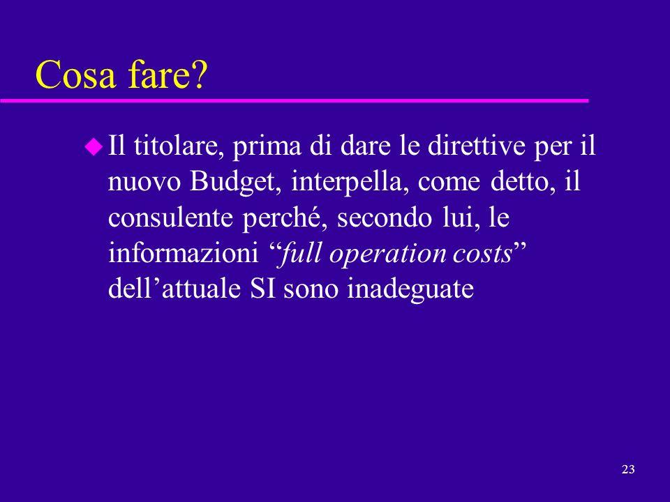 23 Cosa fare? u Il titolare, prima di dare le direttive per il nuovo Budget, interpella, come detto, il consulente perché, secondo lui, le informazion