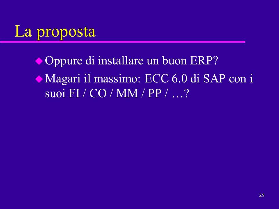 25 La proposta u Oppure di installare un buon ERP? u Magari il massimo: ECC 6.0 di SAP con i suoi FI / CO / MM / PP / …?