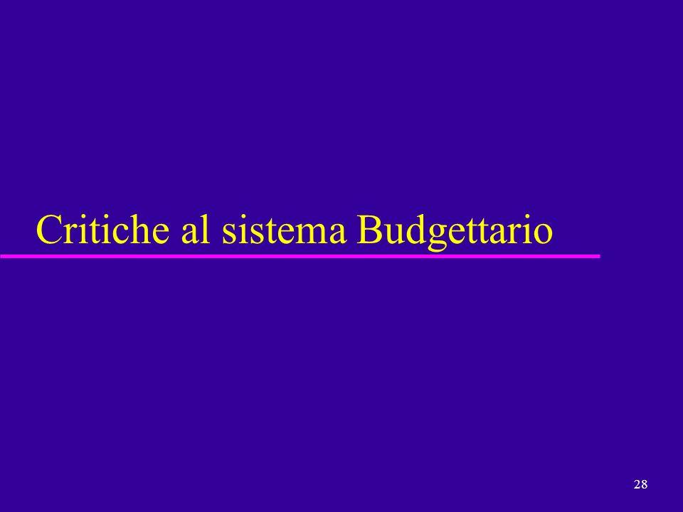 28 Critiche al sistema Budgettario