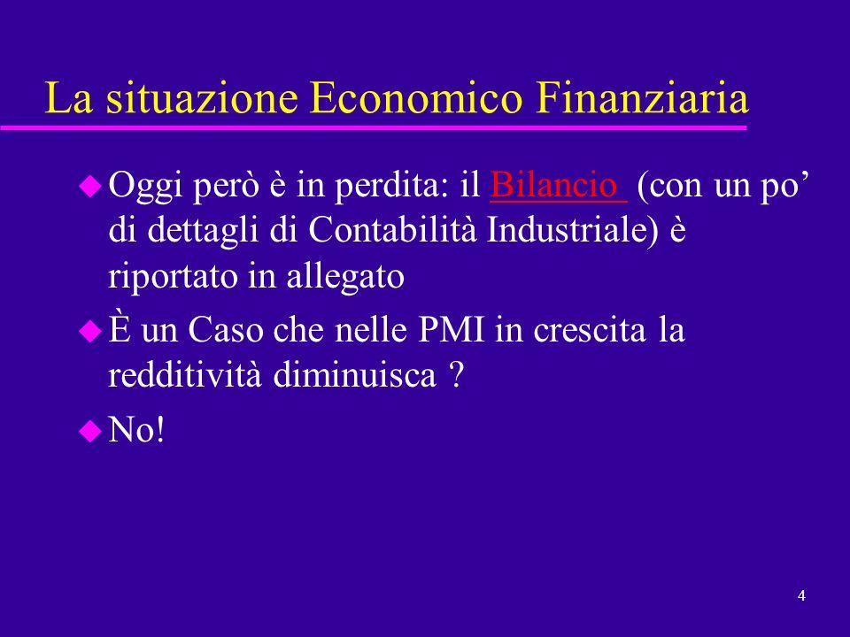 4 La situazione Economico Finanziaria u Oggi però è in perdita: il Bilancio (con un po di dettagli di Contabilità Industriale) è riportato in allegato