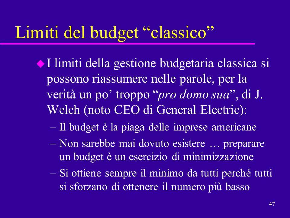 47 Limiti del budget classico u I limiti della gestione budgetaria classica si possono riassumere nelle parole, per la verità un po troppo pro domo su