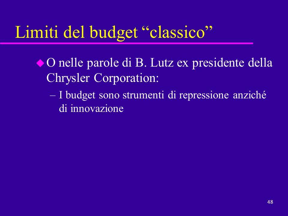 48 Limiti del budget classico u O nelle parole di B. Lutz ex presidente della Chrysler Corporation: –I budget sono strumenti di repressione anziché di