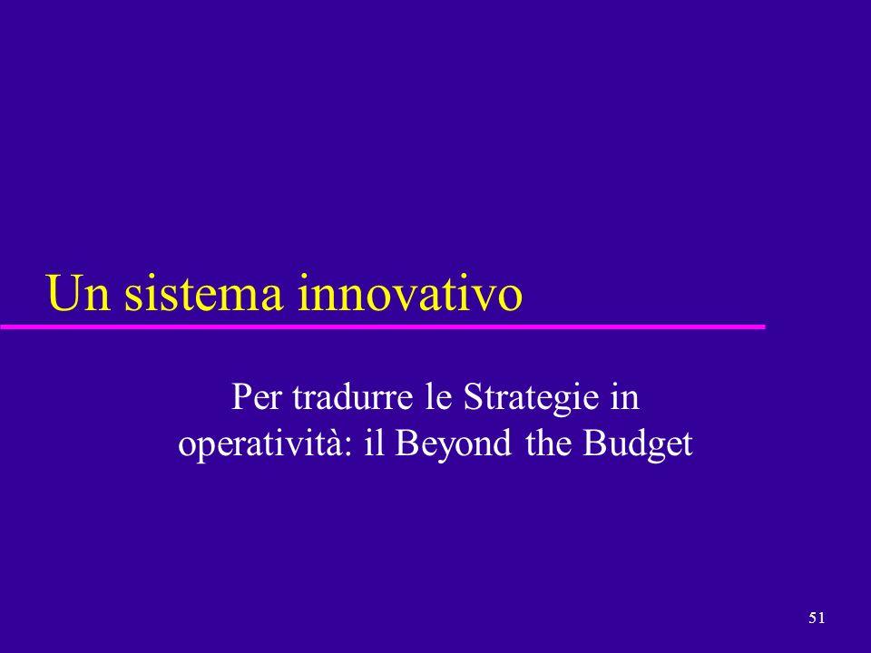 51 Un sistema innovativo Per tradurre le Strategie in operatività: il Beyond the Budget