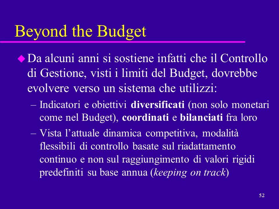 52 Beyond the Budget u Da alcuni anni si sostiene infatti che il Controllo di Gestione, visti i limiti del Budget, dovrebbe evolvere verso un sistema