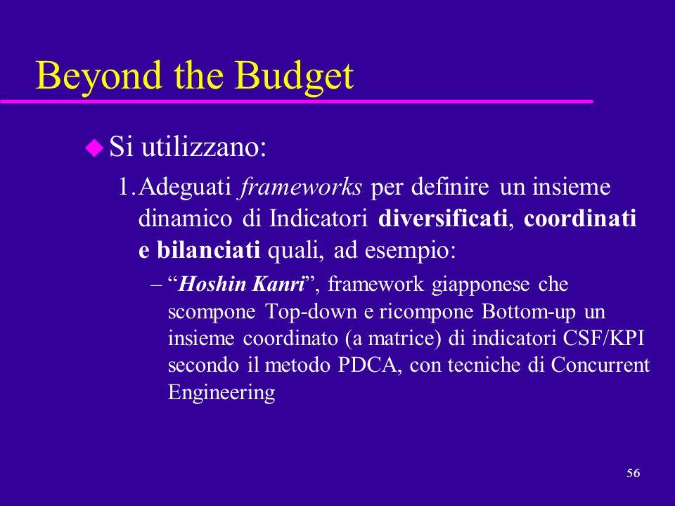 56 Beyond the Budget u Si utilizzano: 1.Adeguati frameworks per definire un insieme dinamico di Indicatori diversificati, coordinati e bilanciati qual