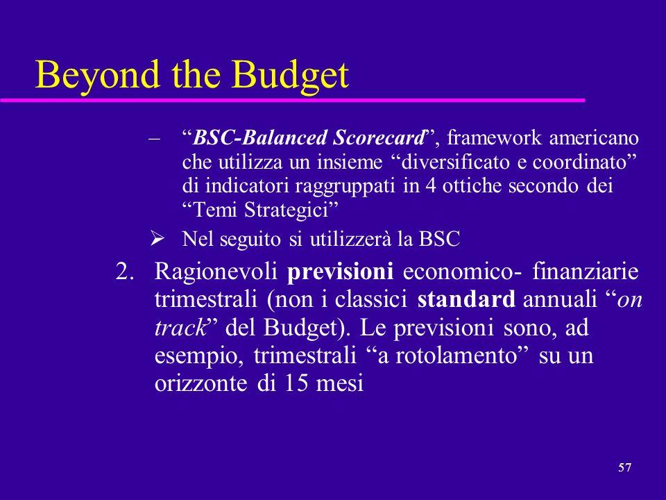 57 Beyond the Budget –BSC-Balanced Scorecard, framework americano che utilizza un insieme diversificato e coordinato di indicatori raggruppati in 4 ot