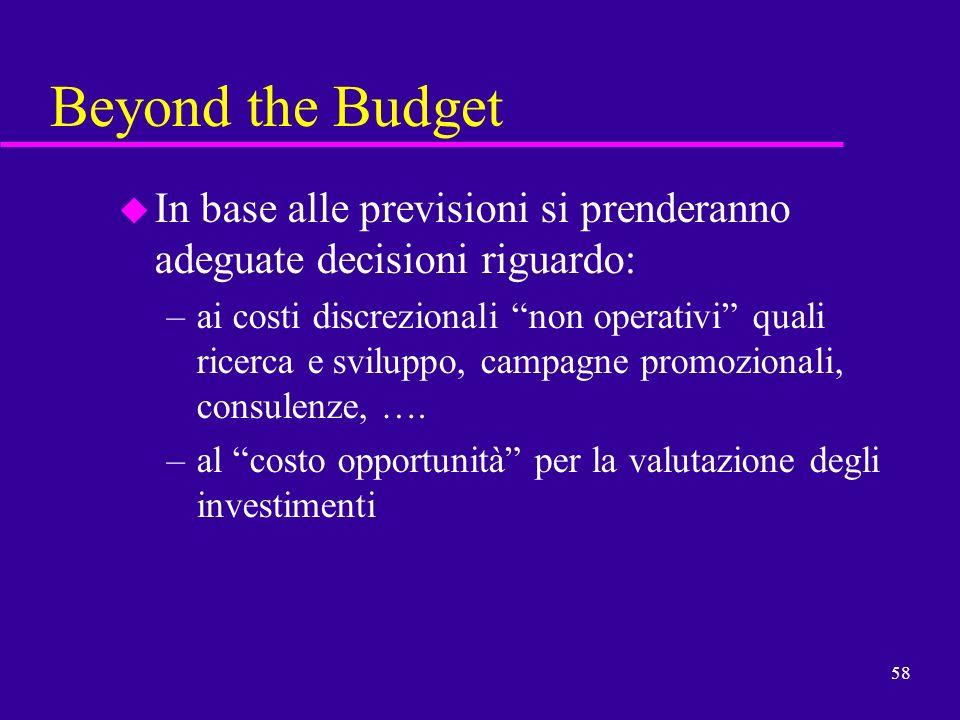 58 Beyond the Budget u In base alle previsioni si prenderanno adeguate decisioni riguardo: –ai costi discrezionali non operativi quali ricerca e svilu