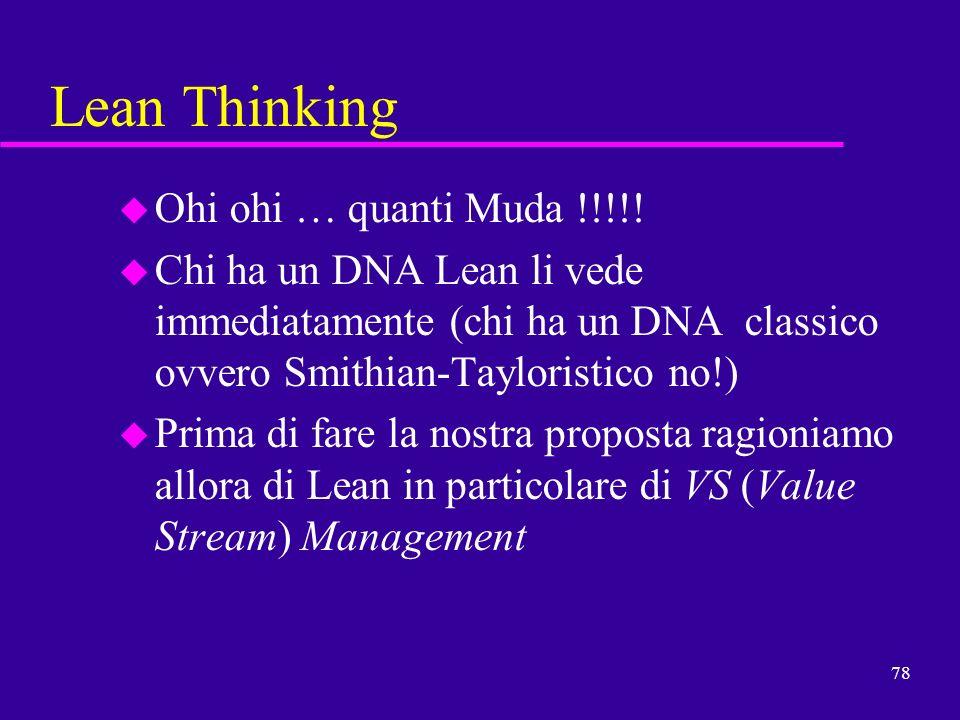 78 Lean Thinking u Ohi ohi … quanti Muda !!!!! u Chi ha un DNA Lean li vede immediatamente (chi ha un DNA classico ovvero Smithian-Tayloristico no!) u