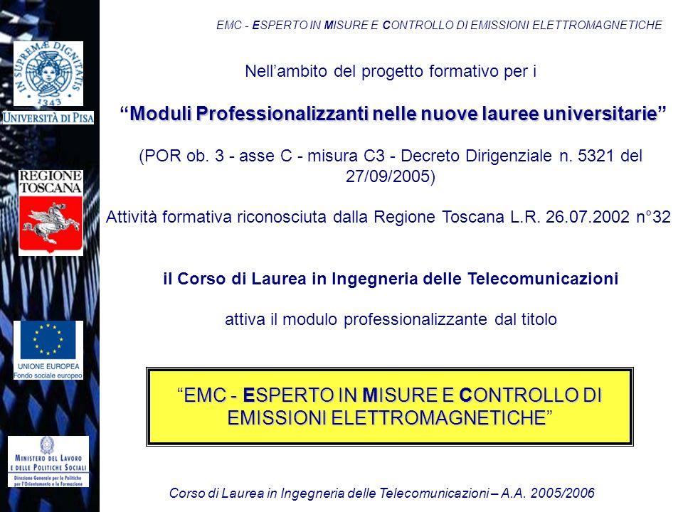 Corso di Laurea in Ingegneria delle Telecomunicazioni – A.A. 2005/2006 EMC - ESPERTO IN MISURE E CONTROLLO DI EMISSIONI ELETTROMAGNETICHE Nellambito d