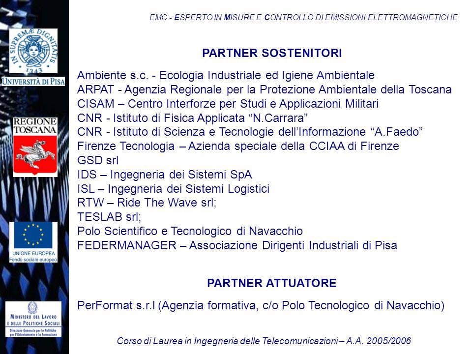 Corso di Laurea in Ingegneria delle Telecomunicazioni – A.A. 2005/2006 EMC - ESPERTO IN MISURE E CONTROLLO DI EMISSIONI ELETTROMAGNETICHE PARTNER SOST