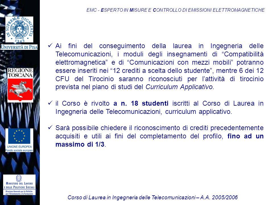 Corso di Laurea in Ingegneria delle Telecomunicazioni – A.A. 2005/2006 EMC - ESPERTO IN MISURE E CONTROLLO DI EMISSIONI ELETTROMAGNETICHE Ai fini del