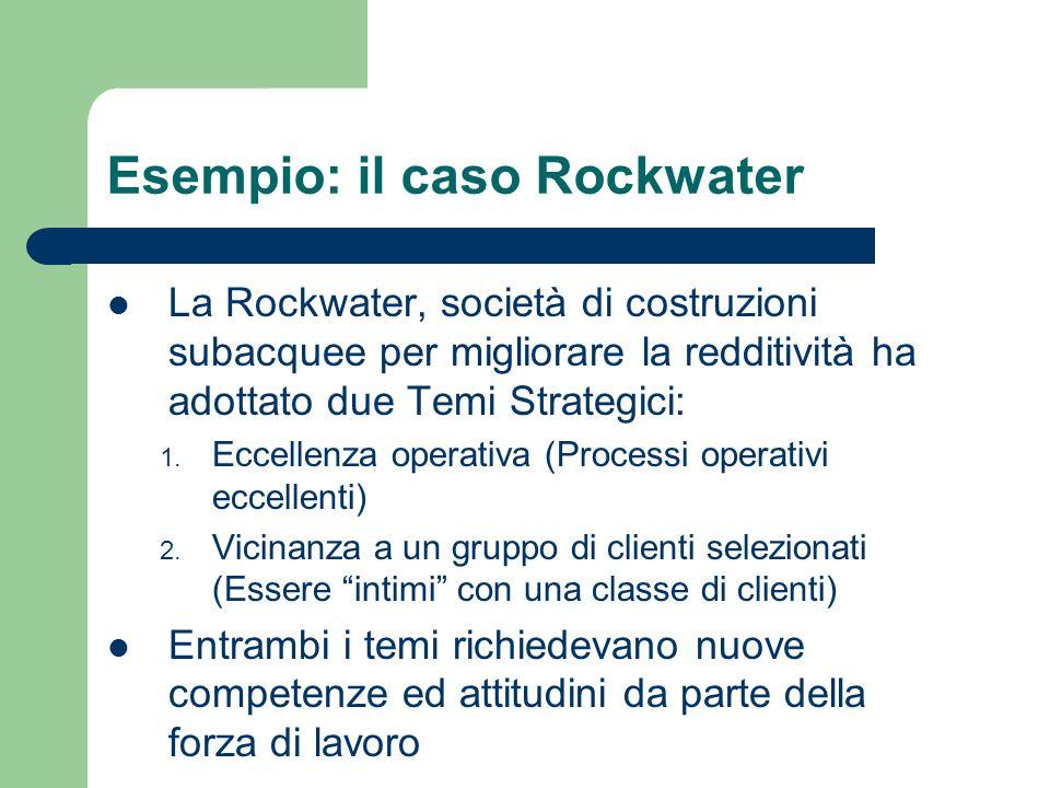 Esempio: il caso Rockwater La Rockwater, società di costruzioni subacquee per migliorare la redditività ha adottato due Temi Strategici: 1. Eccellenza