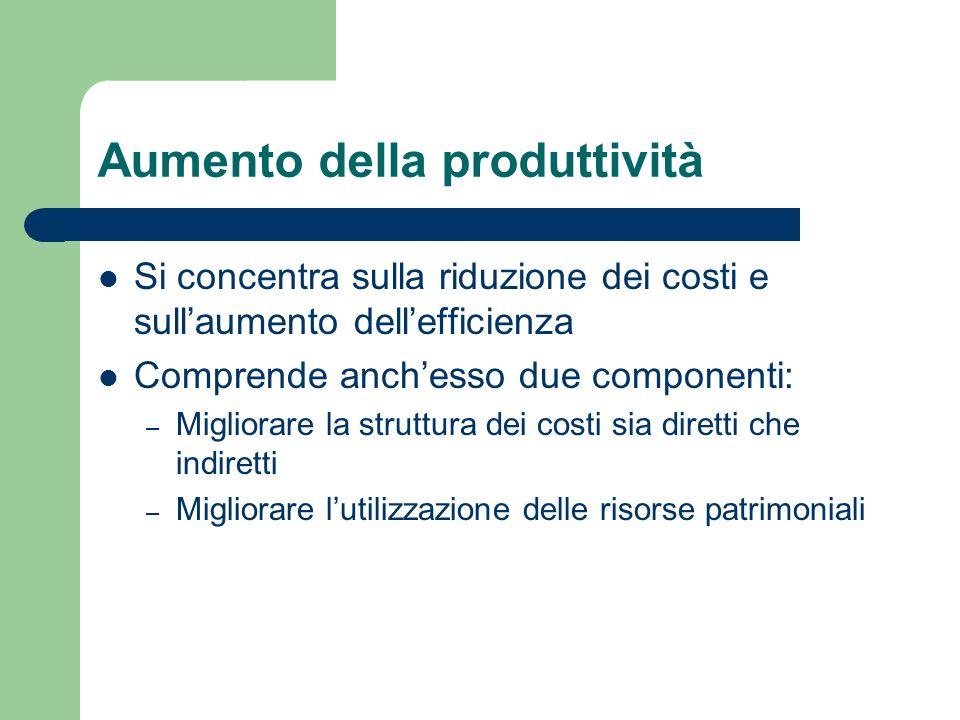 Aumento della produttività Si concentra sulla riduzione dei costi e sullaumento dellefficienza Comprende anchesso due componenti: – Migliorare la stru