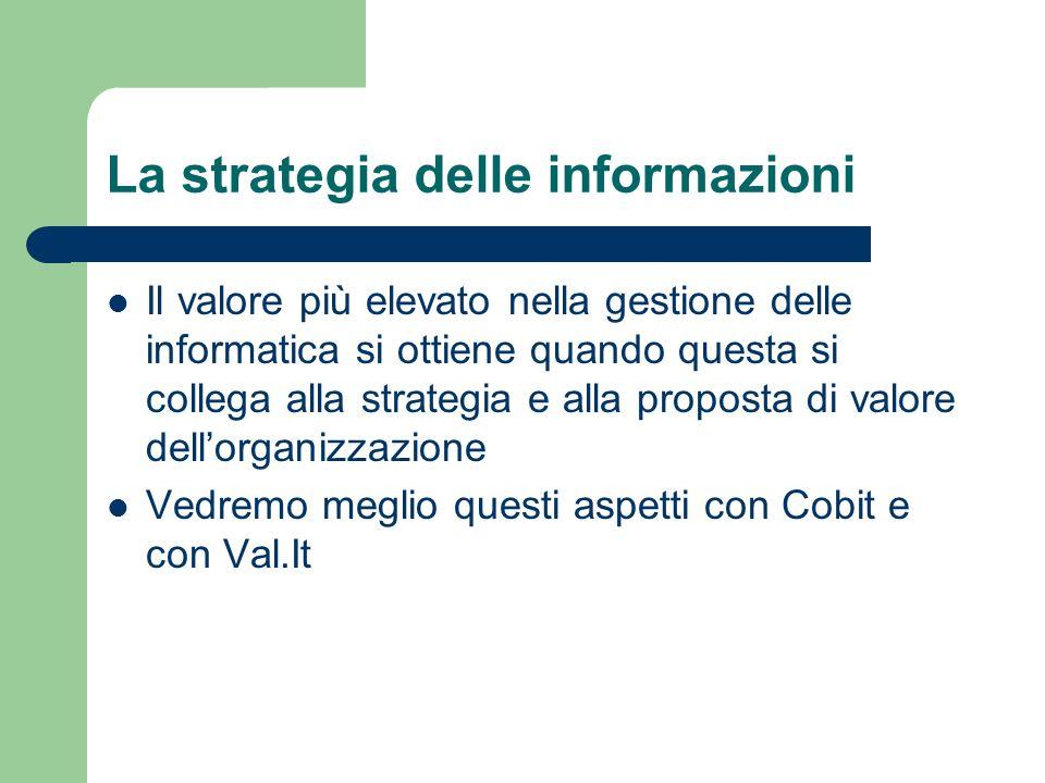 La strategia delle informazioni Il valore più elevato nella gestione delle informatica si ottiene quando questa si collega alla strategia e alla propo