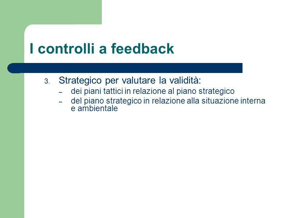 I controlli a feedback 3. Strategico per valutare la validità: – dei piani tattici in relazione al piano strategico – del piano strategico in relazion