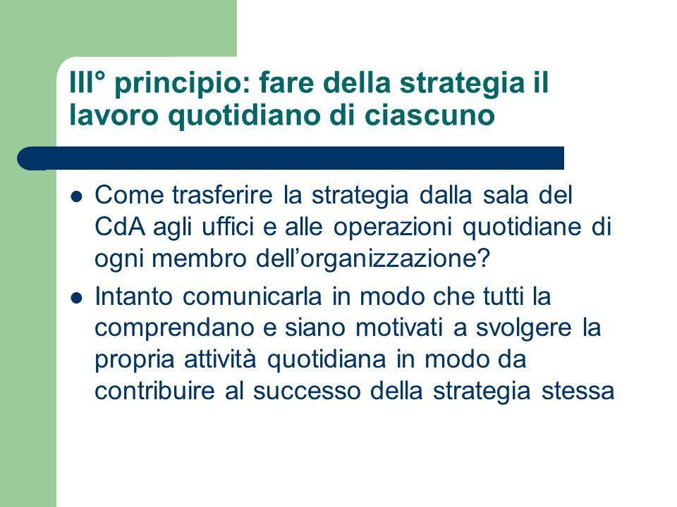 III° principio: fare della strategia il lavoro quotidiano di ciascuno Come trasferire la strategia dalla sala del CdA agli uffici e alle operazioni qu