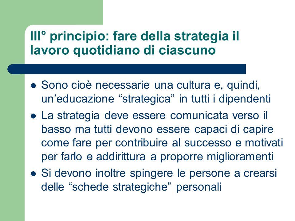 III° principio: fare della strategia il lavoro quotidiano di ciascuno Sono cioè necessarie una cultura e, quindi, uneducazione strategica in tutti i d
