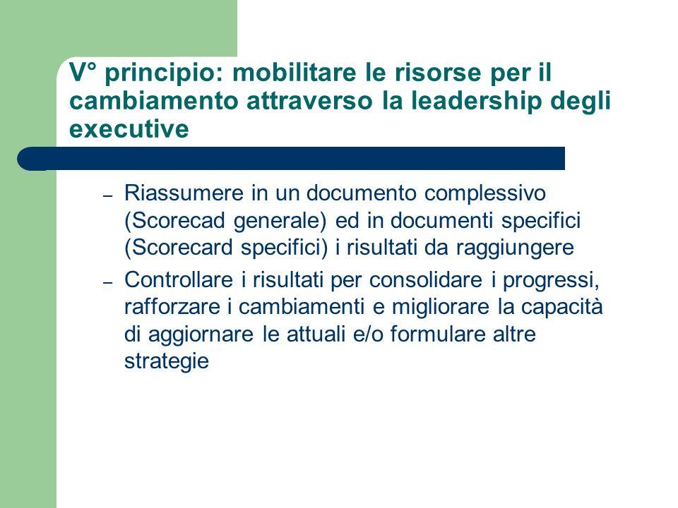 V° principio: mobilitare le risorse per il cambiamento attraverso la leadership degli executive – Riassumere in un documento complessivo (Scorecad gen
